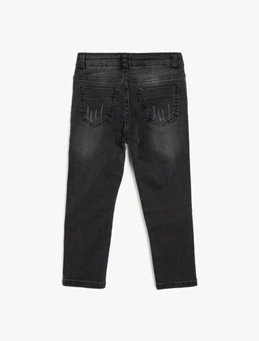 Koton Kids Cep Detaylı Jean Pantolon Siyah